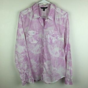 EXPRESS Tie Dye Button Front Top